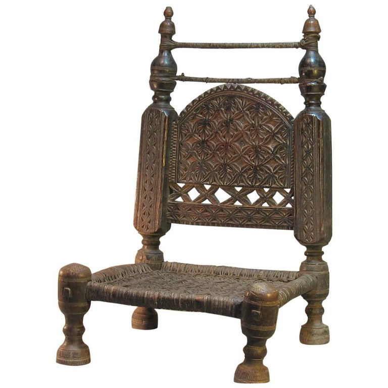 19th Century Traditional Tribal Chair of the Swat Valley, Northern Pakistan For Sale