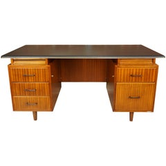 French Design Teak Wooden and Black Executive Desk from the 1950s by Burwood