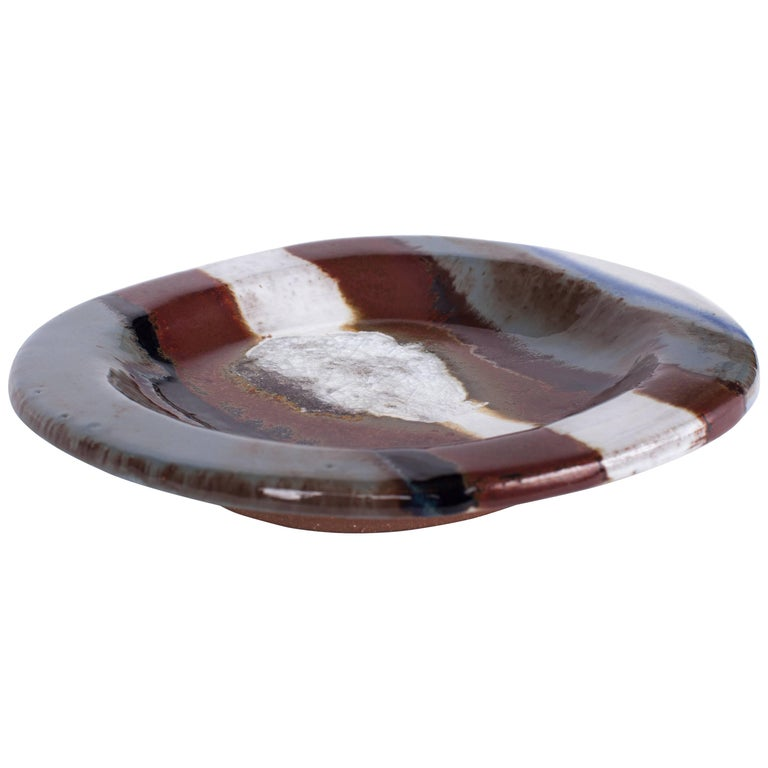 Crackle-Glaze Ceramic Dish by Jacques Pouchain in Black and Brown, France 1980's