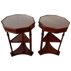 20th Century Pair of French Mahogany Classical Design Side Tables