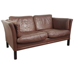 1970s Chestnut Brown Leather Mogensen Style Two-Seat Sofa