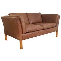 1970s Tan Brown Leather Mogensen Style Two-Seat Sofa