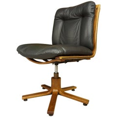 Scandinavian Design Wooden and Black Leather Swivel Office Armchair