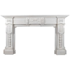 Antique French Carrara Marble Mantelpiece