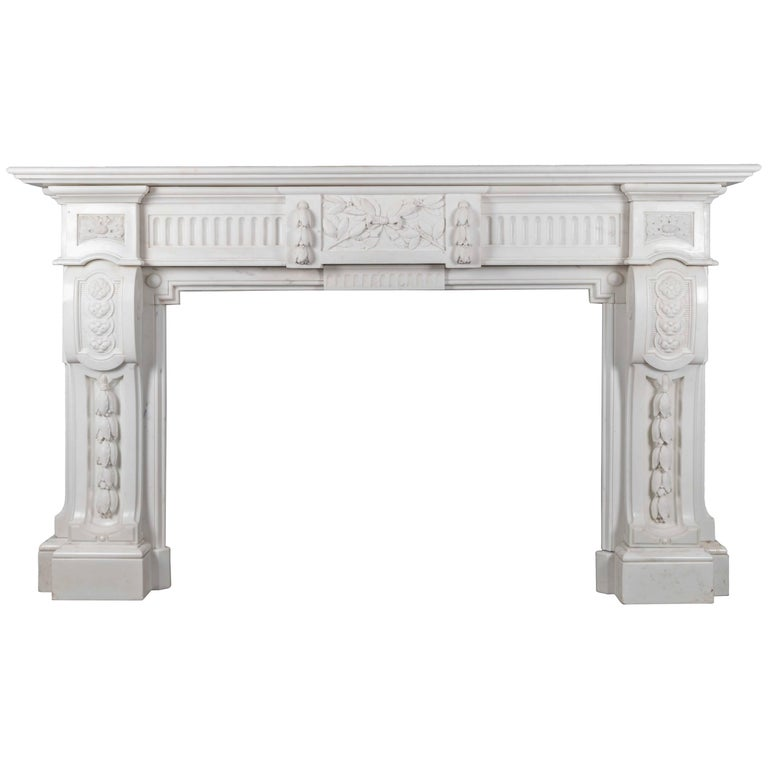 Antique French Carrara Marble Mantelpiece For Sale