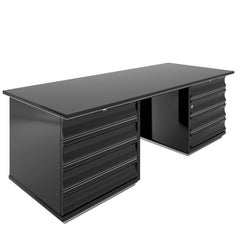 Black Art Deco Desk with Red Drawers