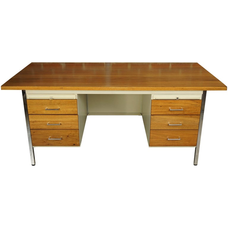 French Design Wooden and Metal Rare Executive Desk from the 1950s by Strafor