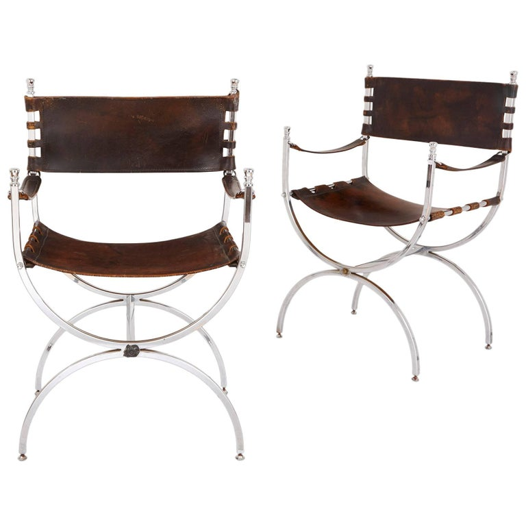 Set of Two Mid-Century Modern Silvered and Leather Chairs