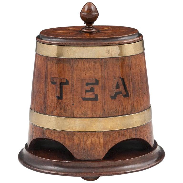 Coopered Barrel Mahogany Brass Advertising Tea Caddy 19th Century