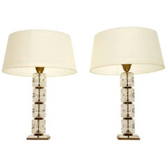 1960s Pair of Glass Vintage Table Lamps