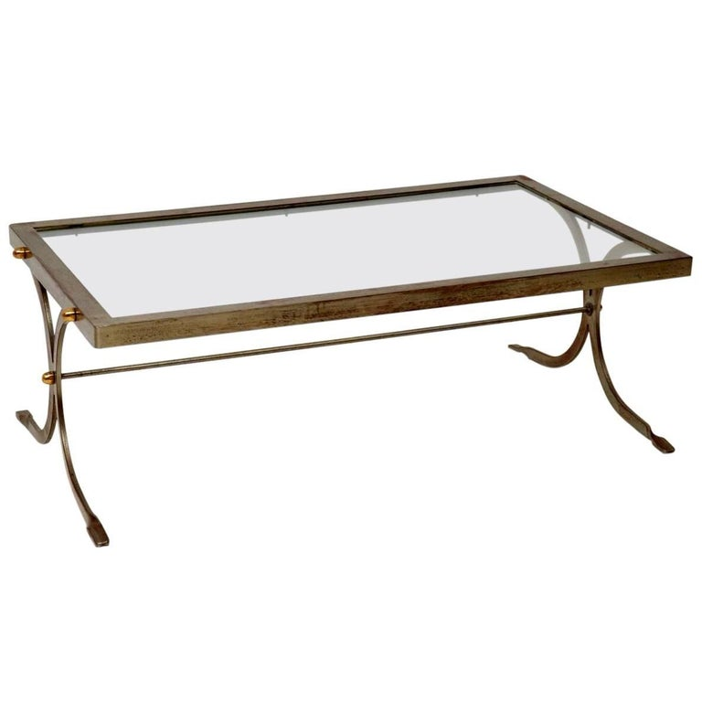 1950s Iron and Brass Vintage Coffee Table