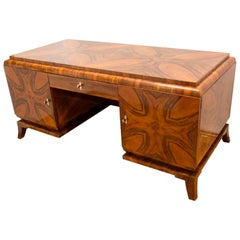 Art Deco Massive Walnut Writing Desk, 1930s, Bohemia