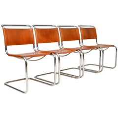 1970s Vintage Italian Leather Dining Chairs by Mart Stam for Fasem