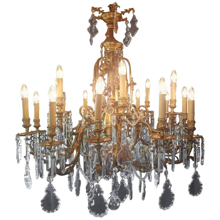 French 18 Light Gas Chandelier, 19th Century