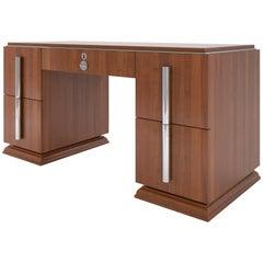 Walnut Art Deco Desk with Large Chrome Handles