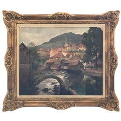 """19th Century Oil on Canvas """"Vue de Lods et la Loue"""" by E. Quinton"""