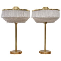 Rare Pair of Hans-Agne Jakobsson Model B-138 Brass Table Lamps, 1960s
