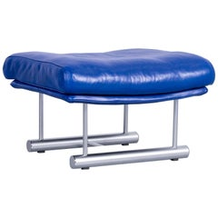 Rolf Benz 6500 Leather Foot-Stool Blue