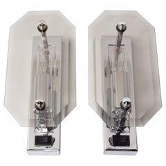 Pair of Deutch Design Chrome and Bevelled Glass Wall Sconces