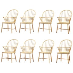 Set of Eight Windsor Dining Chairs by Frits Henningsen for Carl Hansen