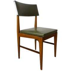 Wooden Teak and Green Faux Leather Scandinavian Style Dutch Design Chair