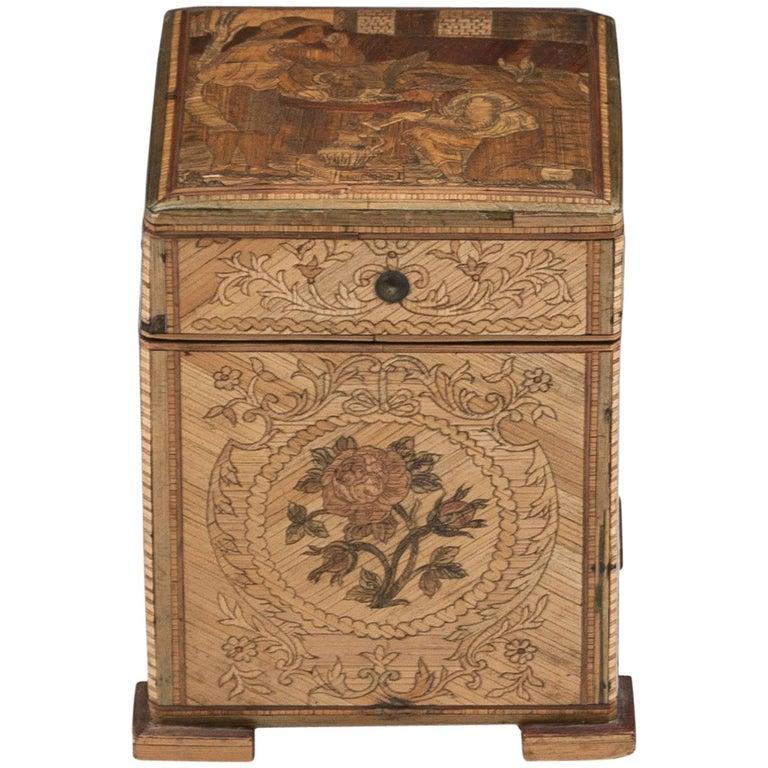 Antique Continental Pine Straw Work Tea Caddy, 18th Century