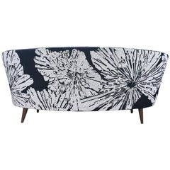 Handcrafted Midcentury Curved Sofa with Hand Embroidered Back Black and White