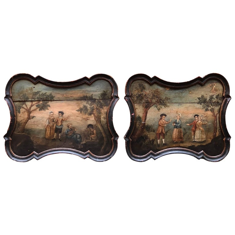 Pair of Early Swedish Rococo Folk Art Wooden Paintings or Table Tops