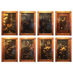 Set of Eight Chinese Export Lacquer Panels from a Cruise Ship