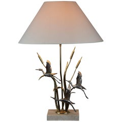 1970s Herons, Cattails Table Lamp by Lanciotto Galeotti for L' Originale, Italy