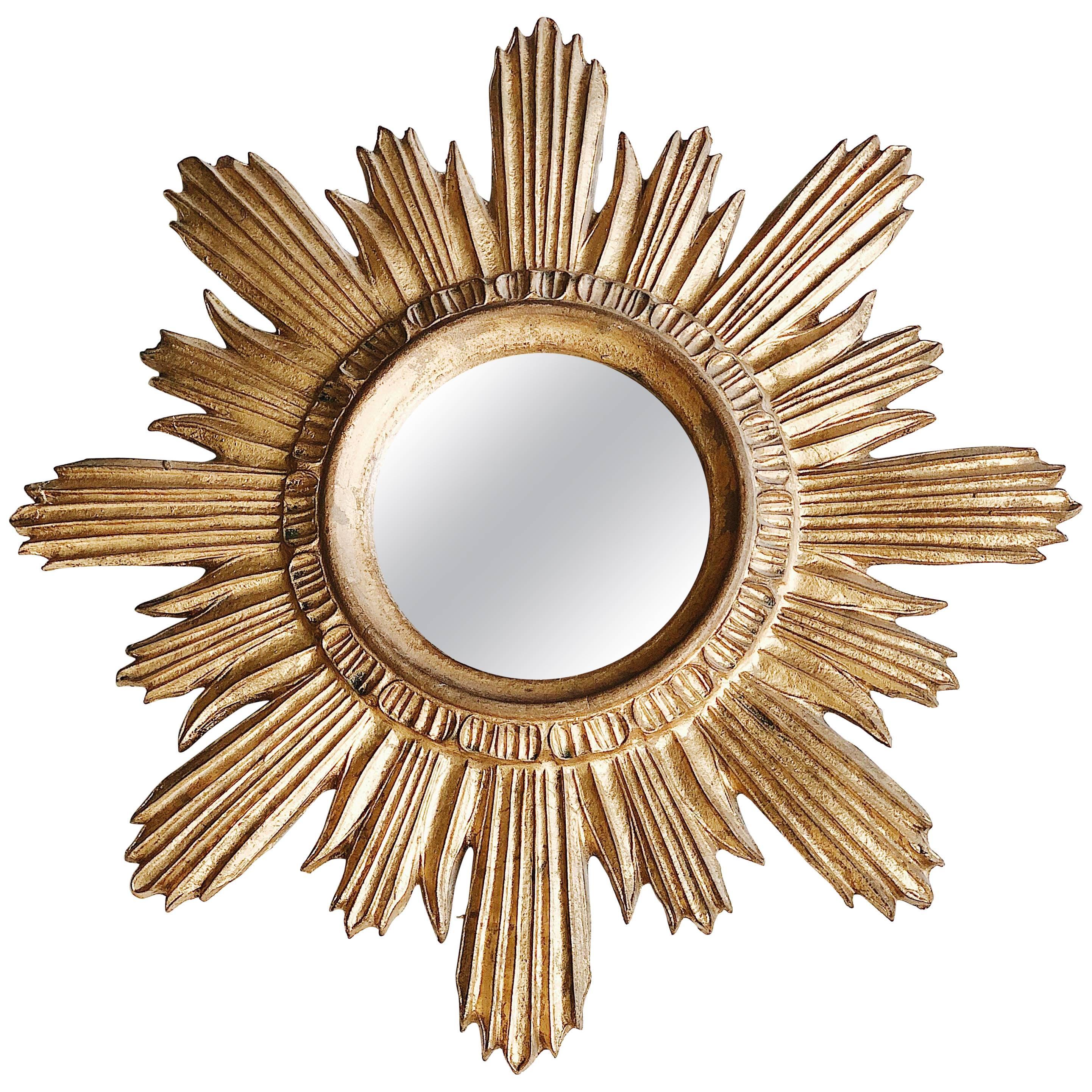 Mid-20th Century Gold Italian Sun Mirror, Giltwood, 1960s