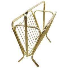 Brass Magazine Rack Hollywood Regency Style