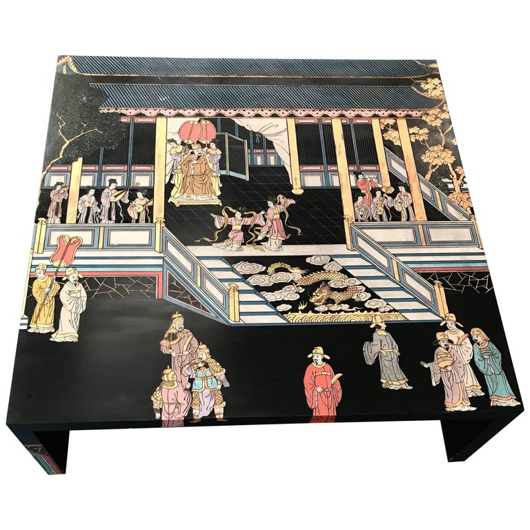 Maitland Smith Monumental Chinoiserie Hand-Painted Square Cocktail Coffee Table