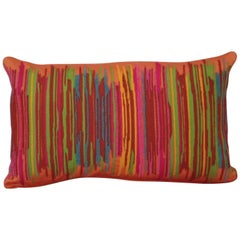 Handcrafted Multi Colored Hand Embroidered Striped Pillow Orange