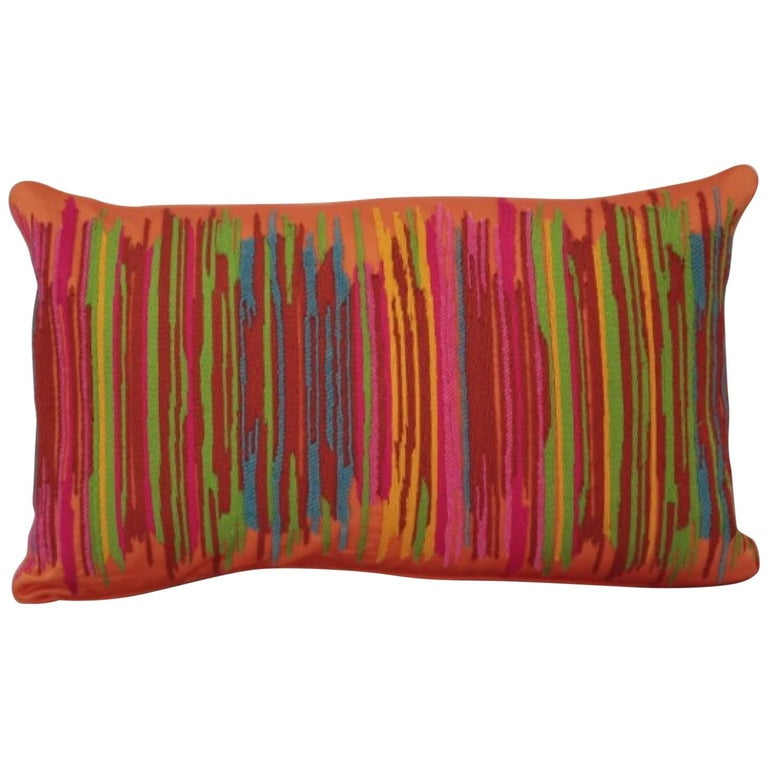Handcrafted Multi Colored Hand Embroidered Striped Pillow Orange  For Sale