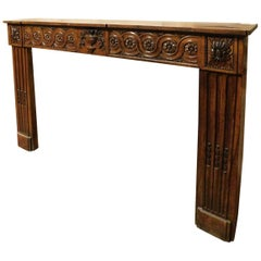 18th Century Richly Carved Wood Fireplace Mantel