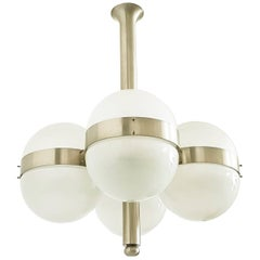 Large Nickel-Plated Brass and Glass 1963 Tetraclio Chandelier by Sergio Mazza