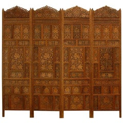 Anglo-Indian Carved Four Panel Foliate Teak Screen