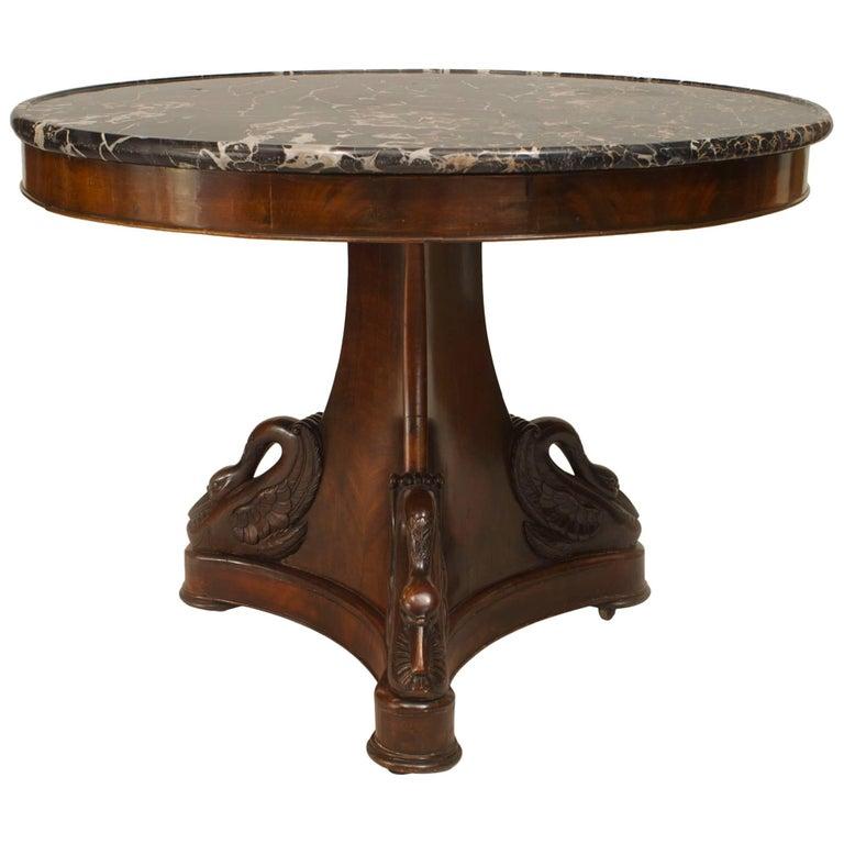French Empire Mahogany Pedestal Base Center Table