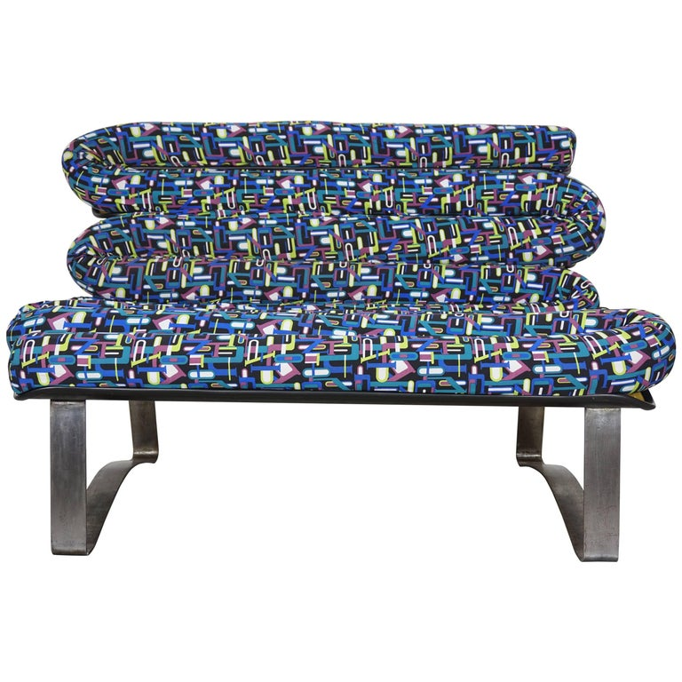 Design and Colorful Fiberglass and Brushed Metal Sofa