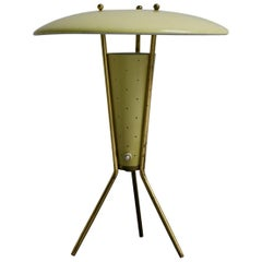Lemon Yellow Tripod Lamp with Brass Details, 1950s