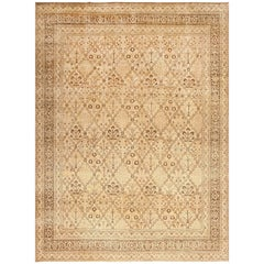 Decorative Antique Garden Design Persian Tabriz Rug. Size: 9 ft 9 in x 13 ft