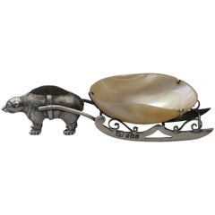 Edwardian Silver Polar Bear Pulling a Sleigh Pin Cushion, 1909