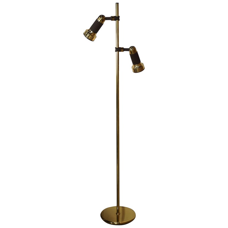 Brass and Brown Abs Mid Century Design Floor Lamp by Sische