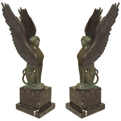 Pair of French Empire Style 19th-20th Century Green Patinated Winged Sphinx