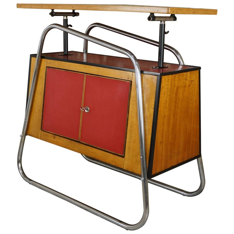 Design Bar Chrome Luge Base Wood and Height-Adjustable Red Passion Glass Top
