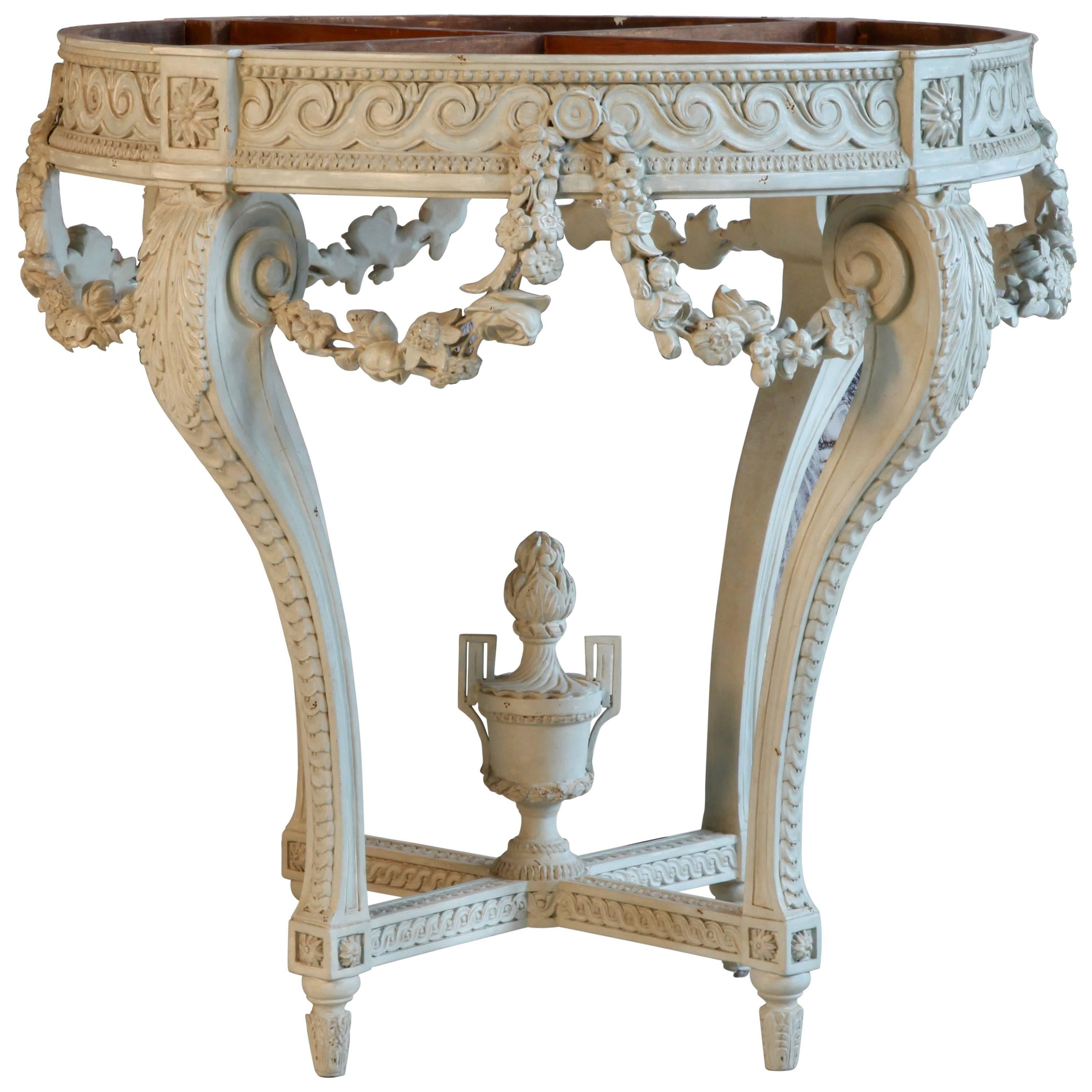 Louis XVI Style Round Console Table