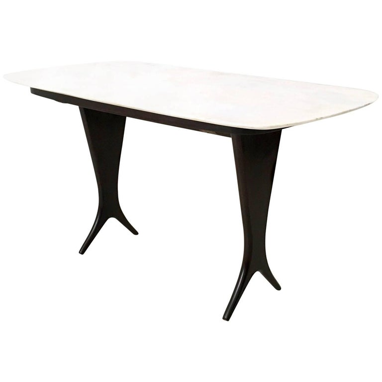 Coffee Table Attributed to Guglielmo Ulrich with Marble Top, Italy, 1940s-1950s