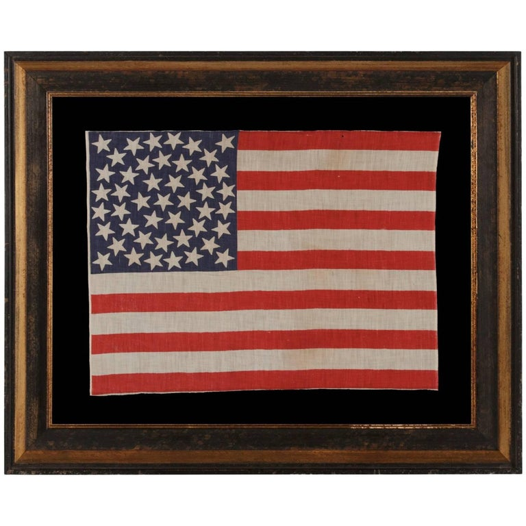 45 Stars on an Antique American Parade Flag with a Medallion Configuration