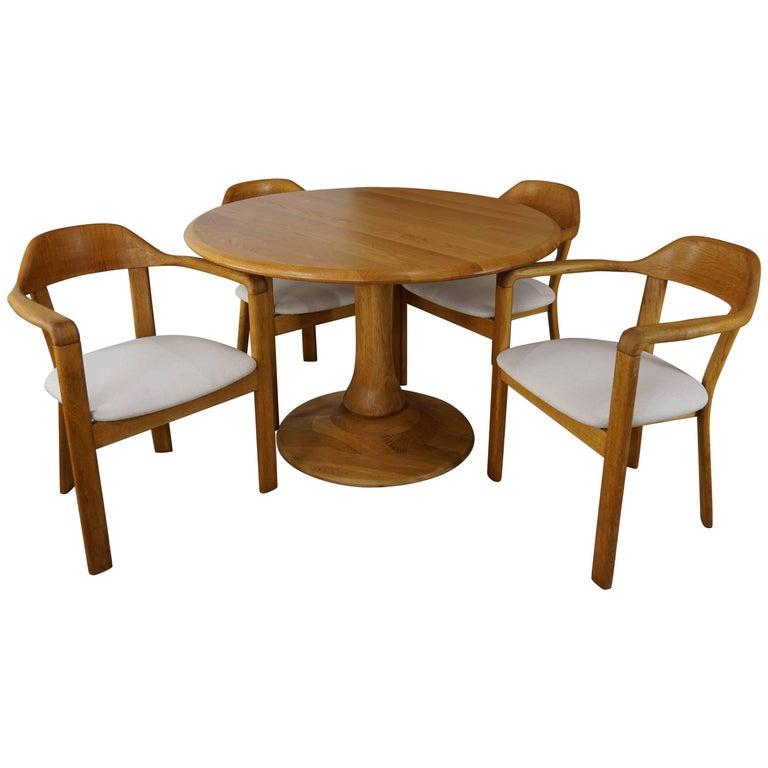 Scandinavian Style Solid Oak Dining Set For Sale